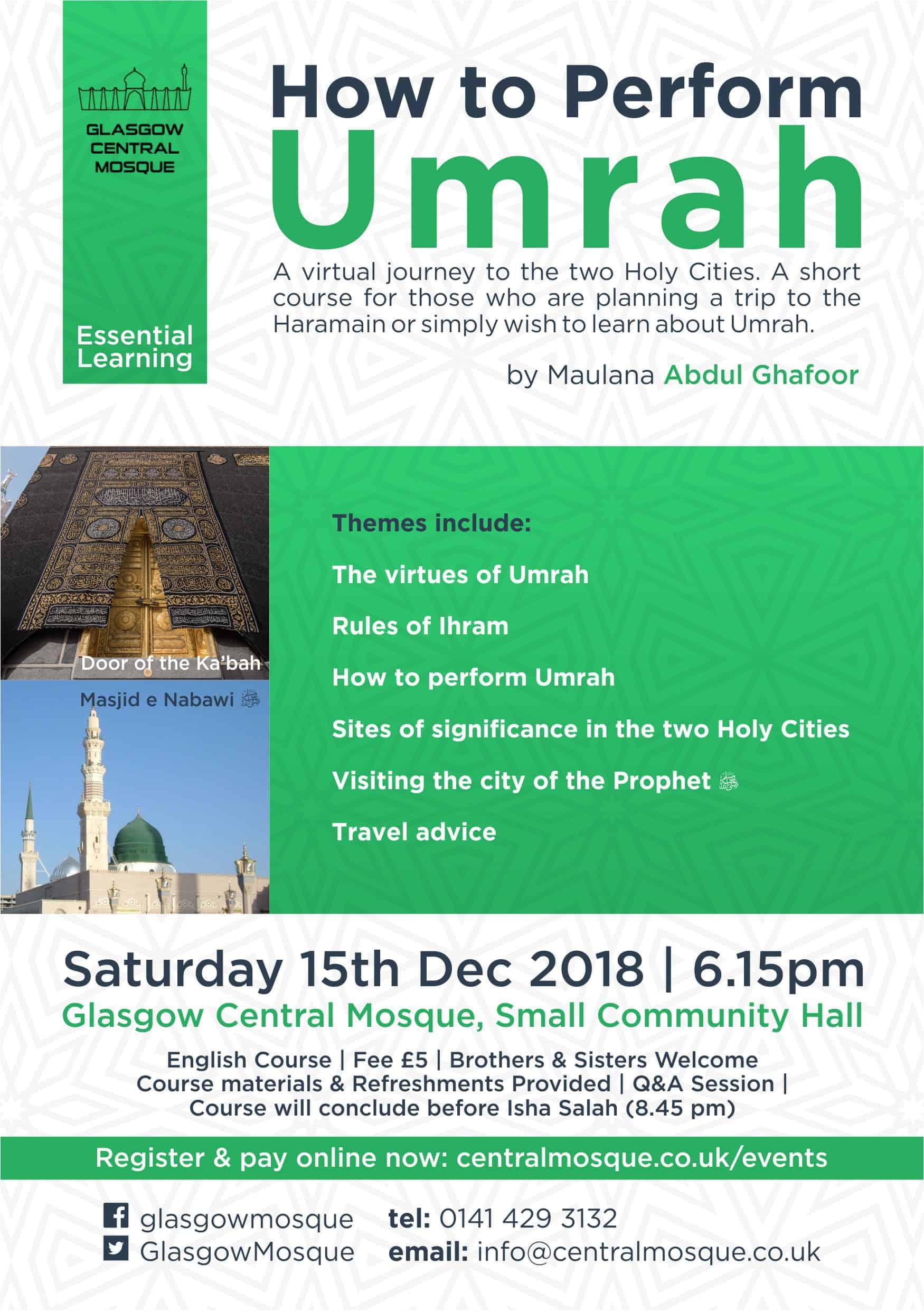 Umrah Course – Glasgow Central Mosque